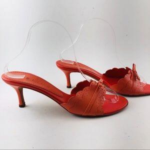 👠[Celine] Coral leather Slides Kitten Heel Shoes